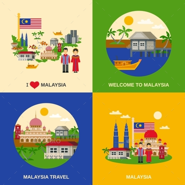 Malaysia Culture 4 Flat Icons Square - Travel Conceptual