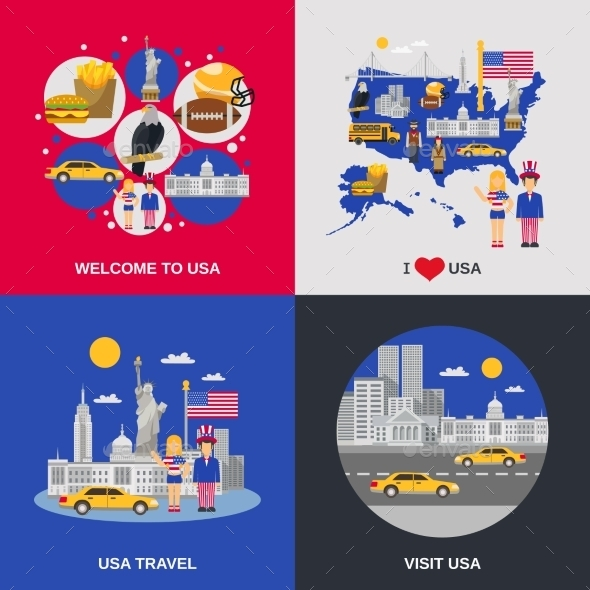 USA Culture 4 Flat Icons Square - Travel Conceptual