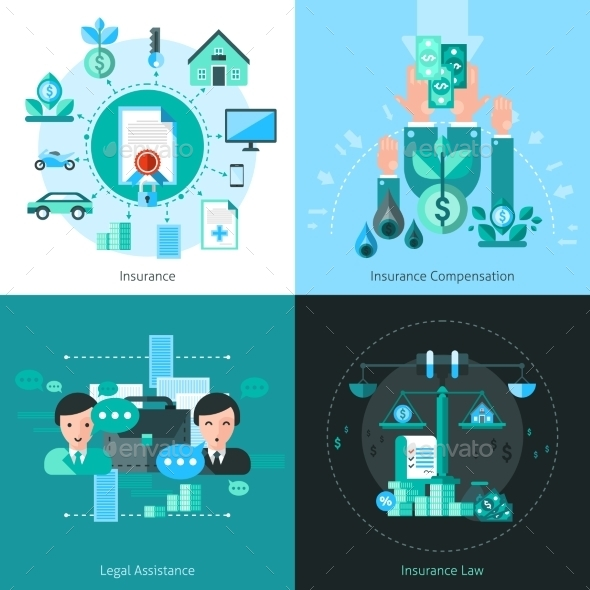 Business Insurance Concept Icons Set  - Concepts Business