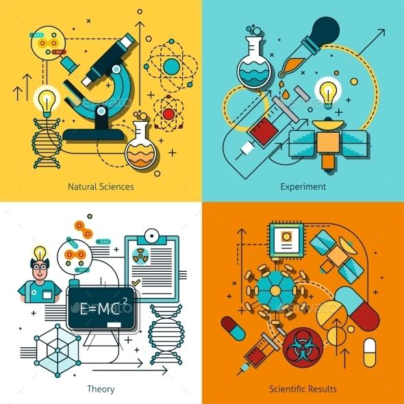 Science Concept Line Icons Set - Technology Conceptual