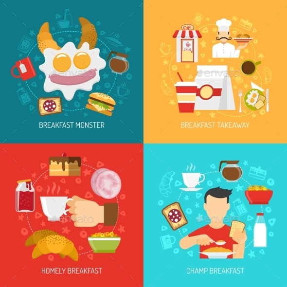 Breakfast Concept Icons Set  - Food Objects