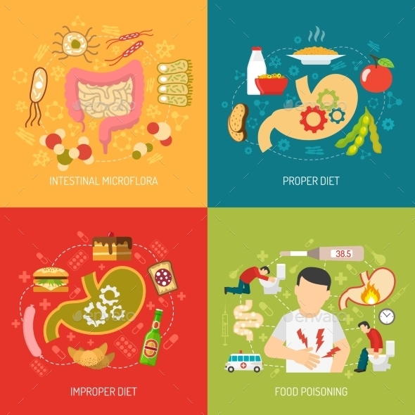 Digestion Concept Icons Set  - Health/Medicine Conceptual