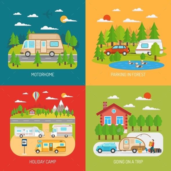 Motorhome Concept Icons Set  - Travel Conceptual