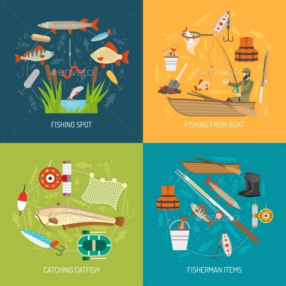 Fishing Concept Icons Set  - Sports/Activity Conceptual