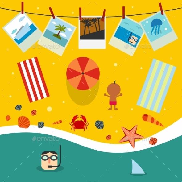 Summer Beach In Flat Design - Conceptual Vectors