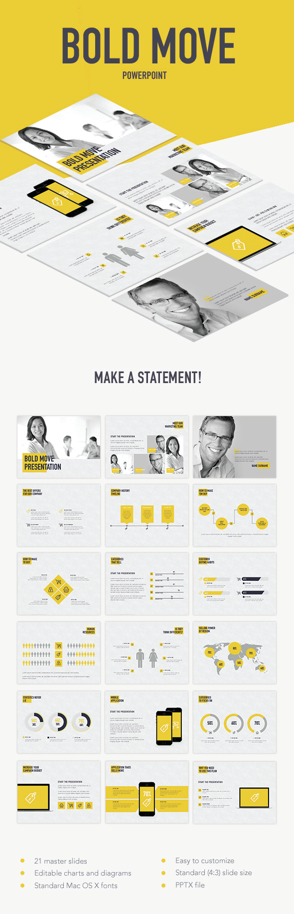 Bold Move PowerPoint Template - Business PowerPoint Templates