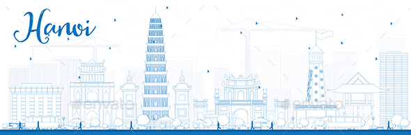 Outline Hanoi Skyline with Blue Landmarks. - Buildings Objects