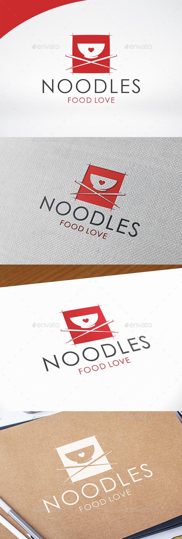 Noodle Love Logo Template - Food Logo Templates