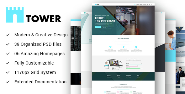 TOWER – Creative Small Business PSD Template for Startups