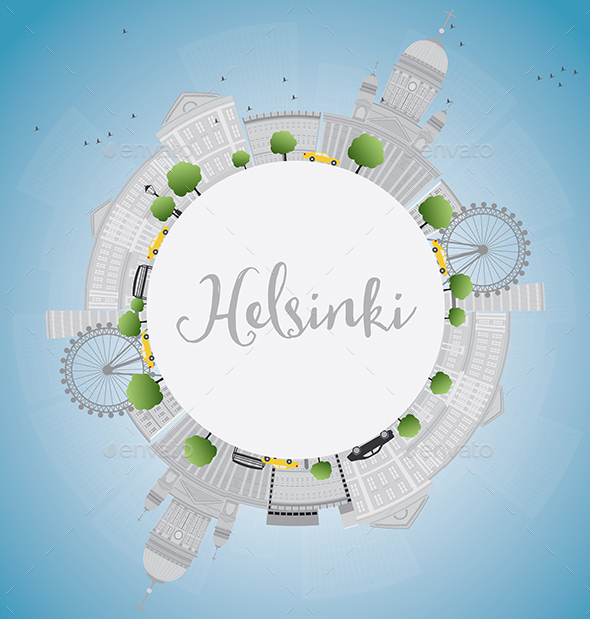 Helsinki Skyline with Gray Buildings and Copy Space. - Buildings Objects