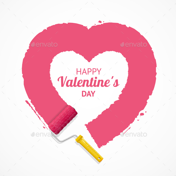 Pink Valentine Heart. Vector - Valentines Seasons/Holidays