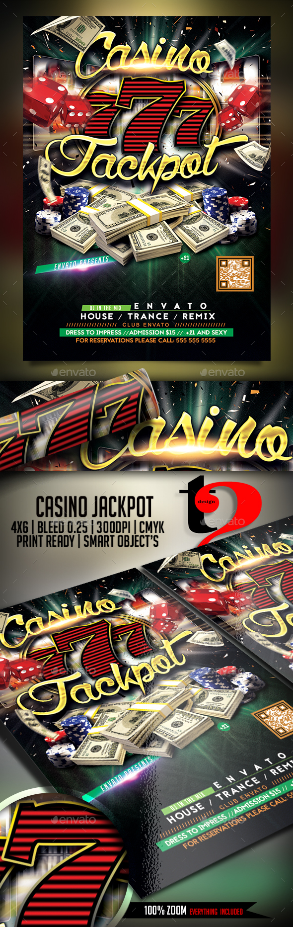 Casino Jackpot Flyer Template - Clubs & Parties Events