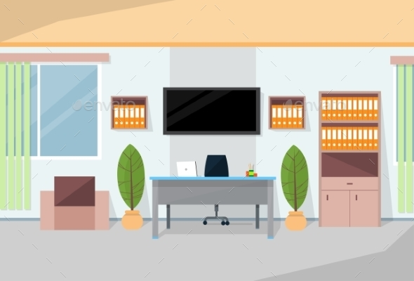 Office Interior Desk Working Place Room - Objects Vectors