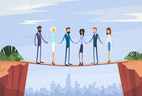 Businesspeople Team Holding Hand Over Cliff Gap - People Characters