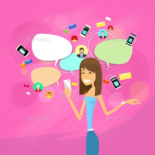 Girl Chatting Social Network Communication Concept - People Characters