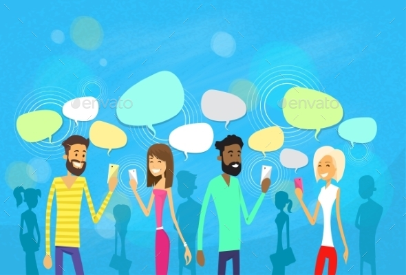 People Group Chat Social Network Communication - People Characters