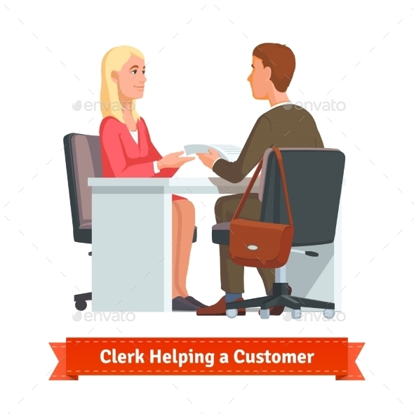Office Clerk Working With Customer - Concepts Business