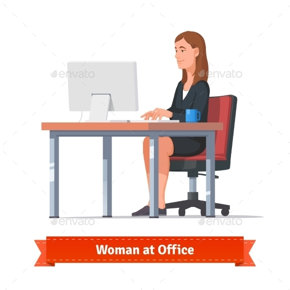 Woman Working On a Desktop At The Office Table - Concepts Business
