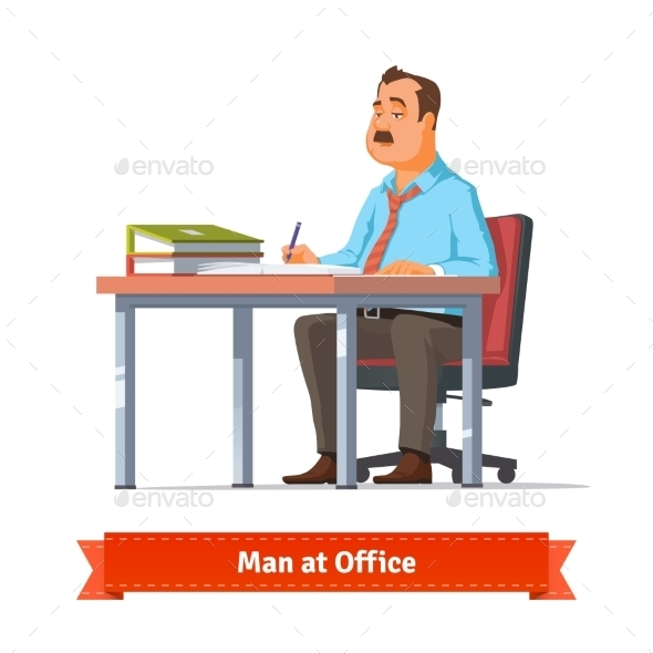 Man Writing At The Office Table - People Characters