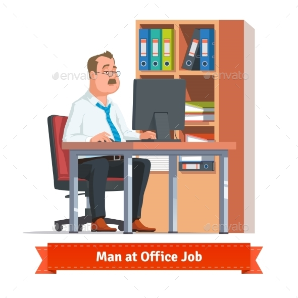 Man Working On a Computer At The Office Table - People Characters