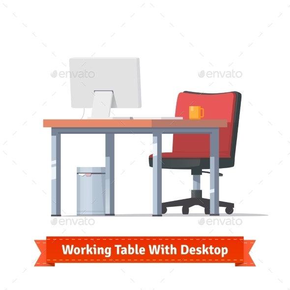 Workplace With Desktop, Wheelchair And a Trashcan - Objects Vectors