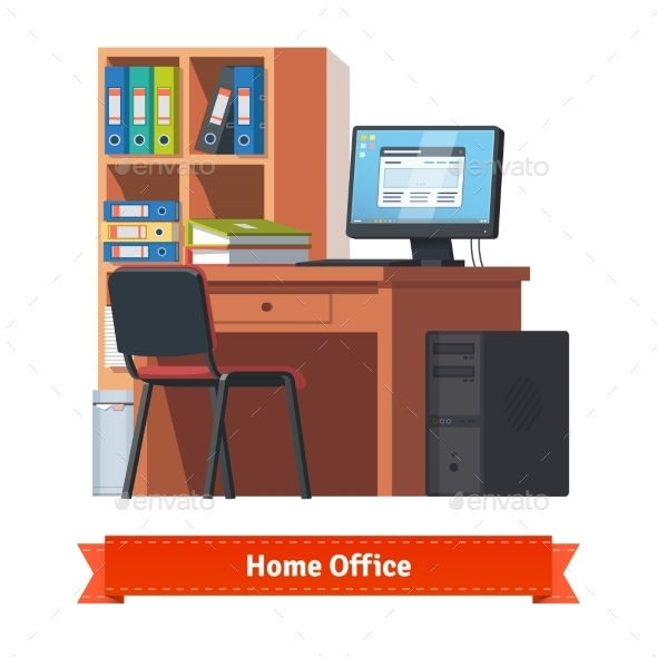 Comfortable Home Workplace With Desktop - Concepts Business