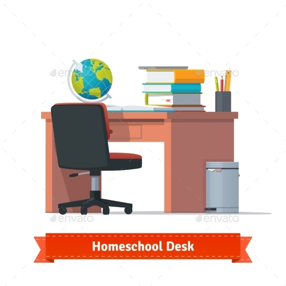 Comfortable Homeschool Workplace With The Desk - Objects Vectors