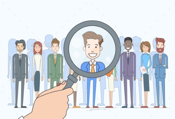 Recruitment Hand Magnifying Glass Picking Business - People Characters