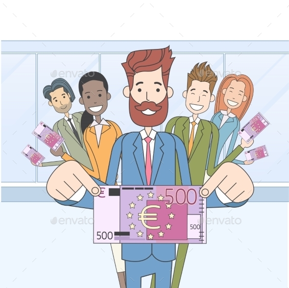 Business People Group Hold Five Hundred Euro - People Characters