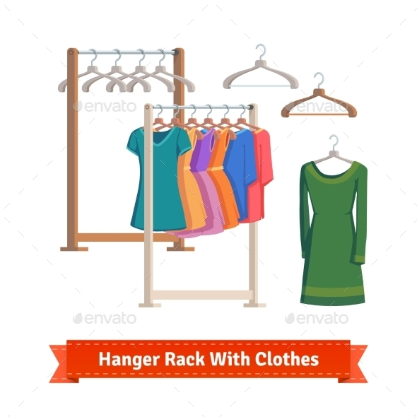 Clothes Rack With Dresses On Hangers - Commercial / Shopping Conceptual