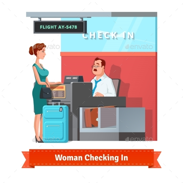 Woman Checking In At The Airport With Clerk - Travel Conceptual