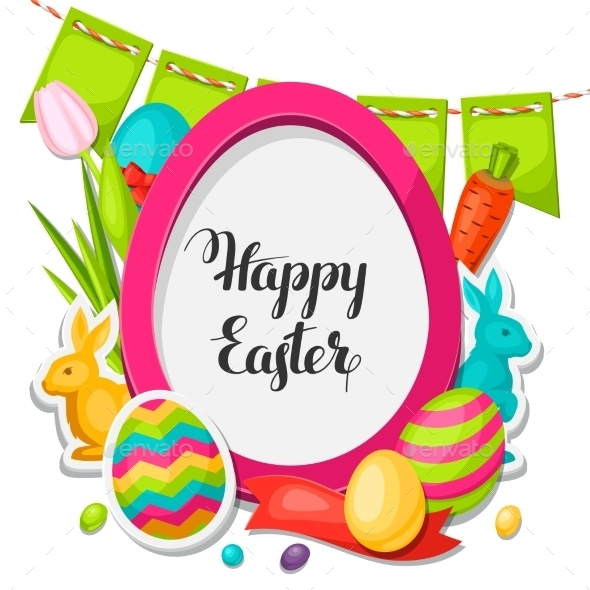 Happy Easter Photo Frame With Decorative Objects - Seasons/Holidays Conceptual