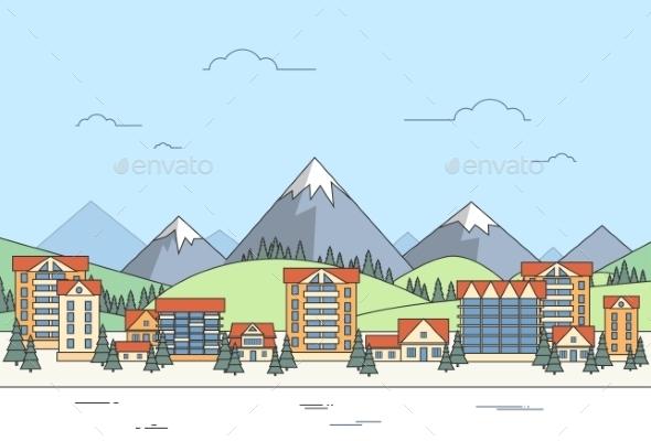 Village Winter Landscape Houses City Mountain  - Objects Vectors