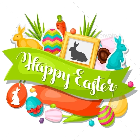 Happy Easter Greeting Card With Decorative Objects - Seasons/Holidays Conceptual