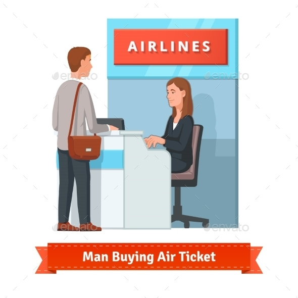 Man Buying Ticket For Business Trip At The Airport - Concepts Business