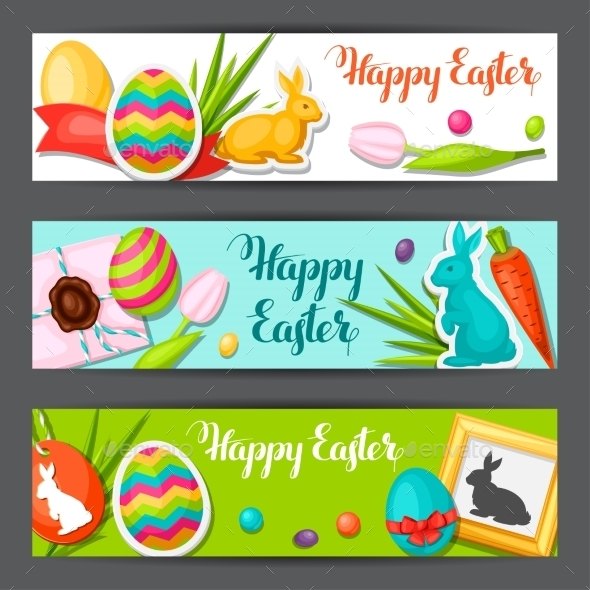 Happy Easter Banners With Decorative Objects, Eggs - Seasons/Holidays Conceptual