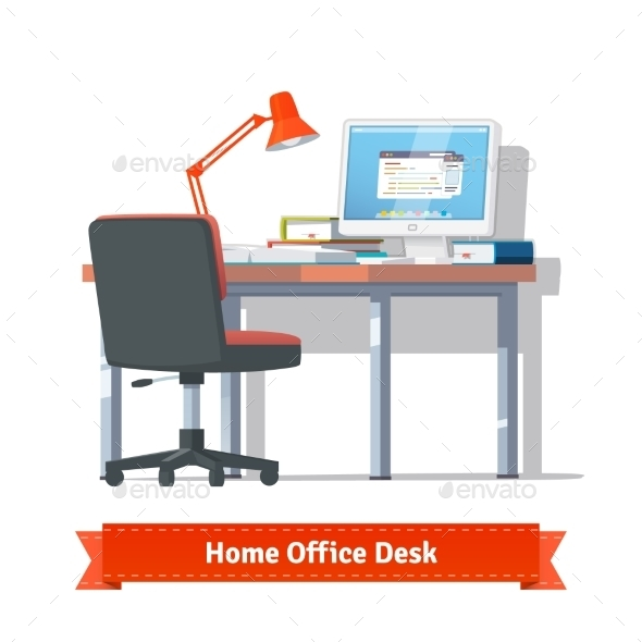 Comfortable Home Workplace With Turned On Desktop - Objects Vectors