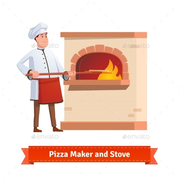 Chef Cook Putting Pizza To a Brick Stone Furnace - Food Objects