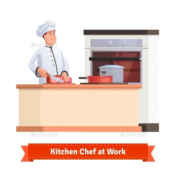 Chef Cook Slicing Meat With a Knife At The Table - Food Objects
