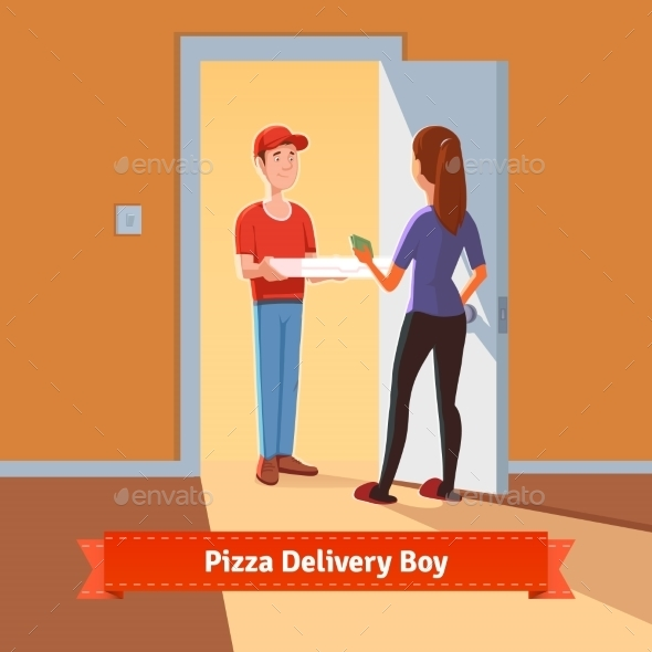 Pizza Delivery Boy Handing Pizza Box To a Girl - Food Objects