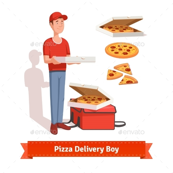 Delivery Boy Holding Pizza Cardboard Box - Food Objects
