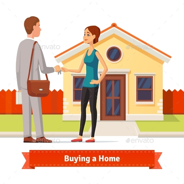 Woman Buying a New House. Real Estate Agent - Concepts Business
