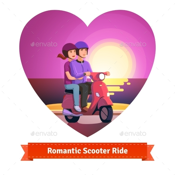 Couple On Scooter Having a Romantic Ride - People Characters