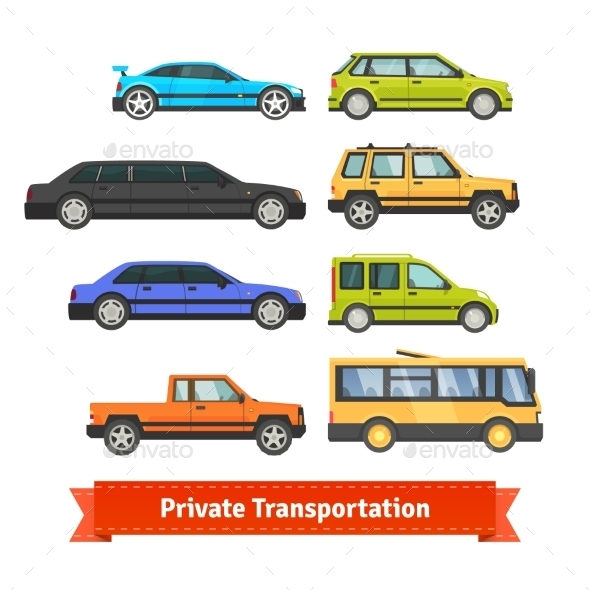 Private Transportation. Various Cars And Vehicles - Objects Vectors