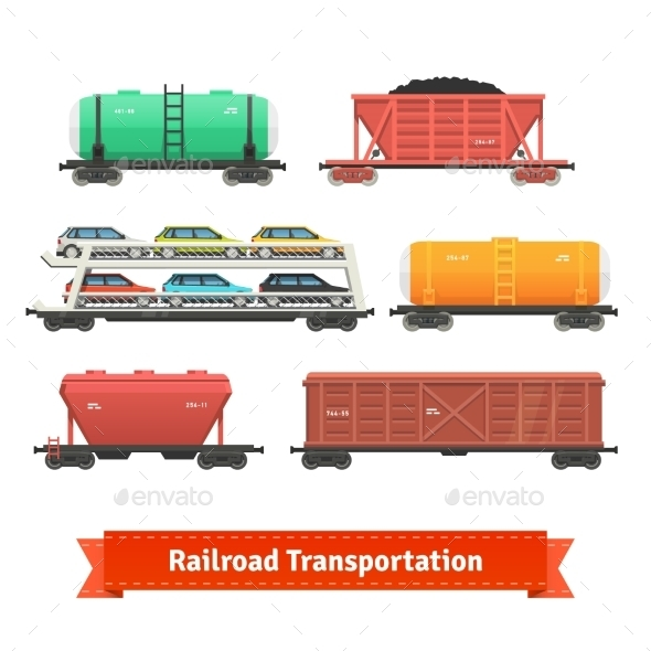Railroad Transportation Set - Objects Vectors