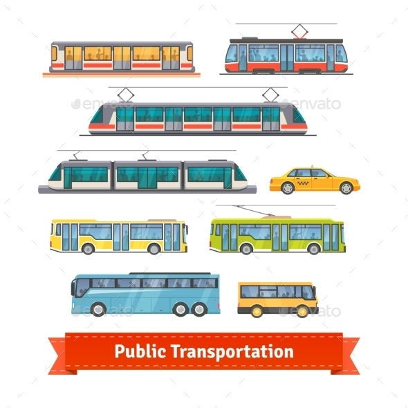 City And Intercity Transportation Vehicles Set - Objects Vectors