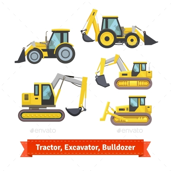 Tractor, Excavator, Bulldozer Set - Objects Vectors