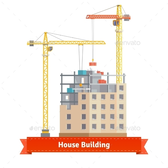 Construction Of Tenement House With Tower Cranes - Buildings Objects