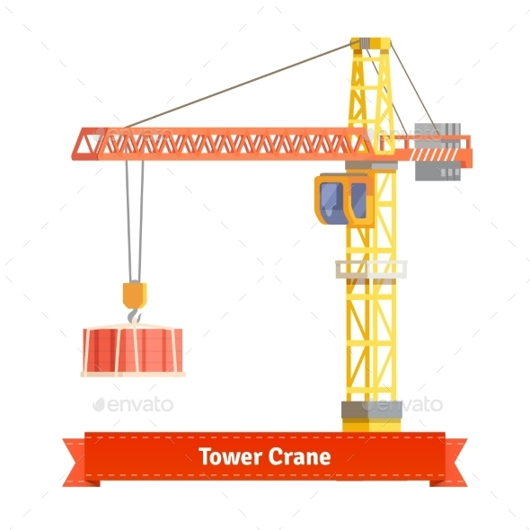 Tower Crane Lifting Building Materials On The Hook - Buildings Objects