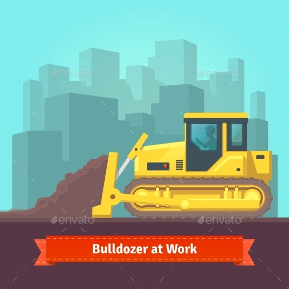 Excavator Tractor Levelling Land - Objects Vectors